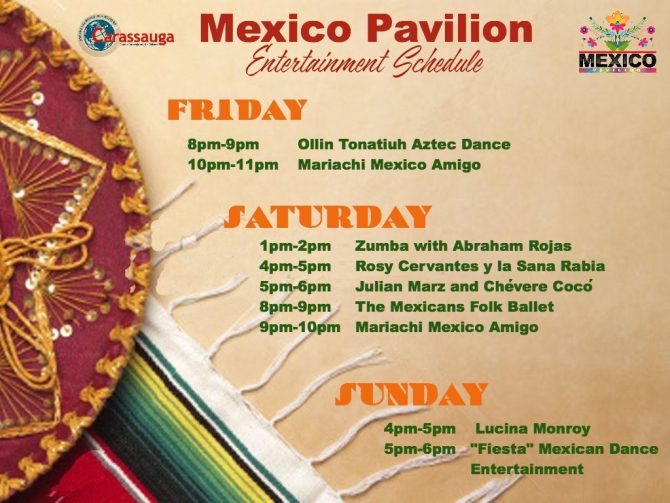 Mexico Pavilion entertainment schedule... note Rosy goes on at 5PM, not 4 as shown here.